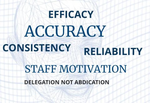 EFFICACY ACCURACY CONSISTENCY STAFF MOTIVATION RELIABILITY DELEGATION NOT ABDICATION